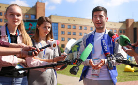 Media tour around WorldSkills Village and Kazan Expo